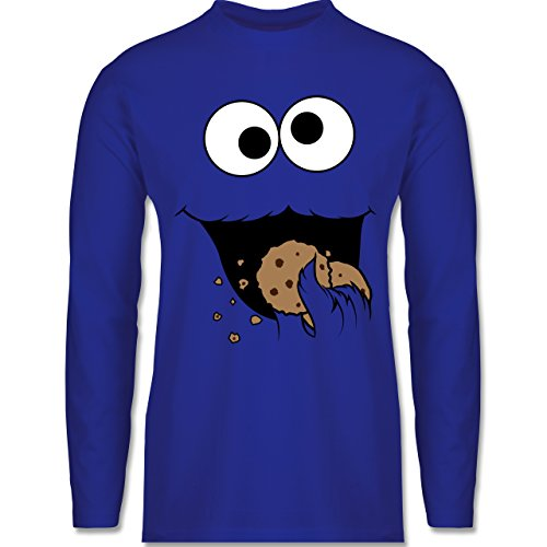 Shirtracer Karneval & Fasching - Keks-Monster - L - Royalblau - BCTU005 - Herren Langarmshirt (Cookie Monster Kostüm Frau)