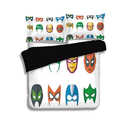 Schwarzer Bettbezug-Set, Superheld, Heldenmaske Weiblich Männlich Kostüm Macht Gerechtigkeit Menschen Mode-Ikonen Kinder Display, Mehrfarbig, Dekorativ 3-teiliges Bettwäscheset von 2 Pillow Shams, Kin