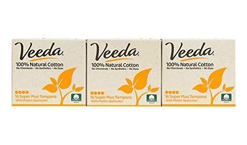Veeda Tampons aus Vollbaumwolle, Super Plus, kompakter Applikator, 3 Packungen à 16 Stück
