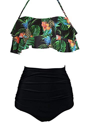 AOQUSSQOA Damen Badeanzug Rüschen Hals Hängen Bikini Sets Zweiteilige Bademode mit Hoher Taille Strandkleidung (EU 46-48 (XL), Pineapple A) -