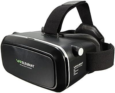 ELEGIANT 3D VR Gafas Real Virtual con Lente Ajustable y Correa para Všªdeo y Luegos Compatible con Apple iPhone 5 5s 6 6s Android Movšªl , Samsung, HTC, Motorola, LG, nexus, Nokia y mš¢s