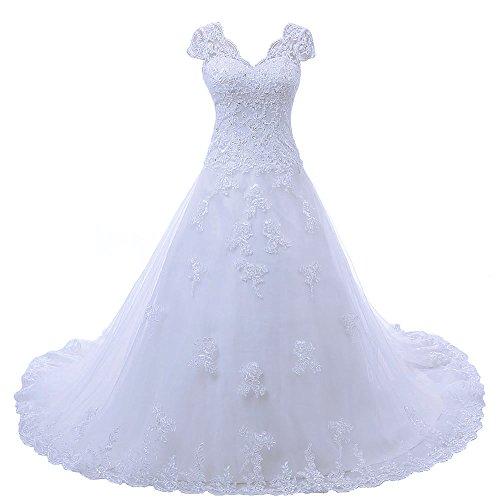 Zorayi Damen V-Ausschnitt Vintage Spitze Hochzeitskleid Brautkleider Weiß Größe 58