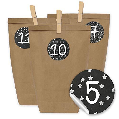 Papierdrachen DIY Adventskalender zum Befüllen - 24 Kraftpapiertüten, Zahlenaufkleber und Klammern - Set zum selber Basteln und Befüllen mit schwarzen Stickern - Design 16