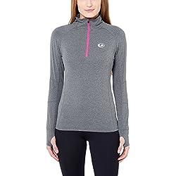 Ultrasport - Camiseta Funcional Deportiva para Correr de Manga Larga para Mujer, Color Gris/Rosa, Talla 46