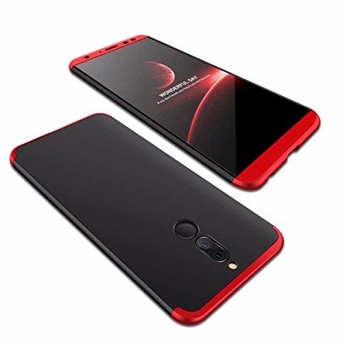 Huawei Mate 10 Lite Hülle 360°Schutzhülle PC Shell Anti-Schock Shockproof Ganzkörper Schützend Anti-Kratz Stoßfänger 360 Grad Full-Cover Case matte Schutzkasten 3 in 1(Rot und schwarz)