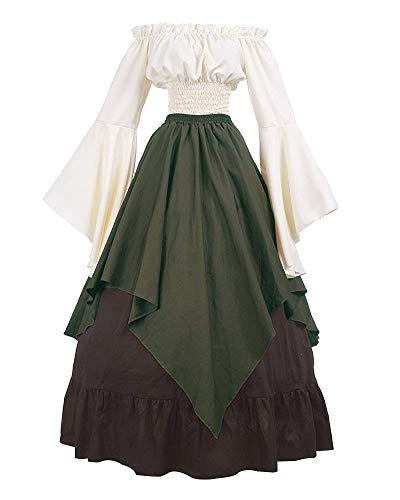 Mittelalter-Kostüm Damen Retro Kleider Partykleid Ballkleid Faschingskostüme Oberteil + Rock Grün L