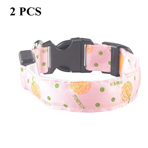 XDYFF Leuchtendes Halsbänder, LED Halsband Hund, mit LED-Licht und Nylon-Gurtband, perfekt für kleine, mittelgroße und große Hunde,Pink,M -