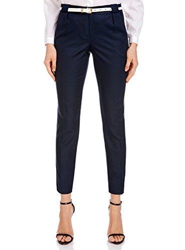 Oodji ultra donna pantaloni classici con cintura а contrasto, blu, it 40 / eu 36 / xs