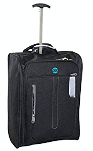 NEW RELEASE OFFER: i360 Hand Luggage Trolley Cabin Bag Lightweight Small Airline Travel Suitcases with Wheels 50 x 35 x 10 for Ryanair, Easyjet, Vueling, KLM, British Airways in Black & Grey