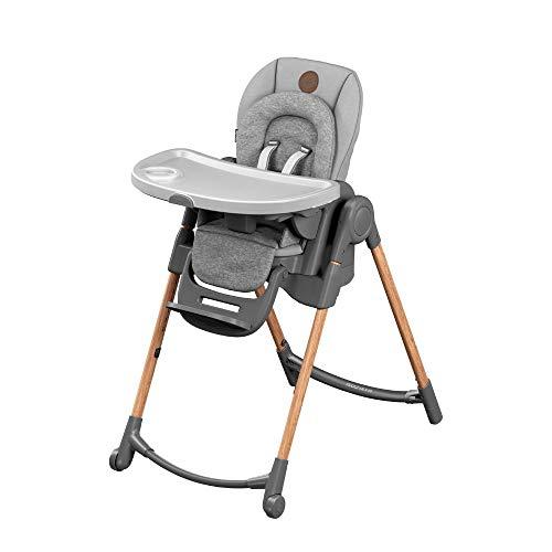Maxi-Cosi Minla Hochstuhl, höhenverstellbarer Kinderstuhl, nutzbar ab der Geburt bis ca. 6 Jahre (max. 30kg), inkl. abnehmbarem Tisch, verstellbarer Rückenlehne & Liegefunktion, essential grey -