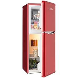 Klarstein • Nevera Combi • Aspecto retro • Nevera de 70 l • 38 litros de congelador • 2 estantes de vidrio • Cajón de verduras • 2 compartimentos en la puerta • Regulable a 5 niveles • Rojo