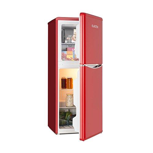 Klarstein Monroe L • Kühl- und Gefrierkombination • Retro Look • 70 Liter Kühlschrank • 38 Liter Gefrierfach • 2 Glas-Ablagen • Gemüsefach • 2 Türablagen • 5-stufig regelbare Kühlleistung • rot