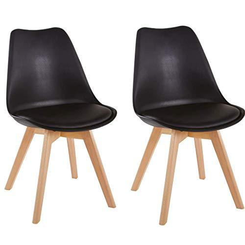 Millhouse - Chaise de salle à manger - Pieds en bois massif naturel avec coussinet - Design contemporain pour bureau, salon, salle à manger, cuisine
