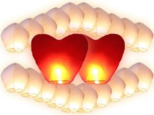 Trendmaus. de 22Chinoises Volantes (20Blancs + 2pièces lanternes Coeurs Rouges géants), Rouge, 90x 50cm