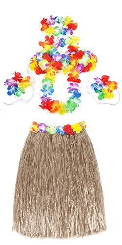 Veroda Hawaii-Bastrock mit Hula Lei Blumenkette Fancy Dress Party Kostüm-Set, 5-teilig, Beige, Einheitsgröße