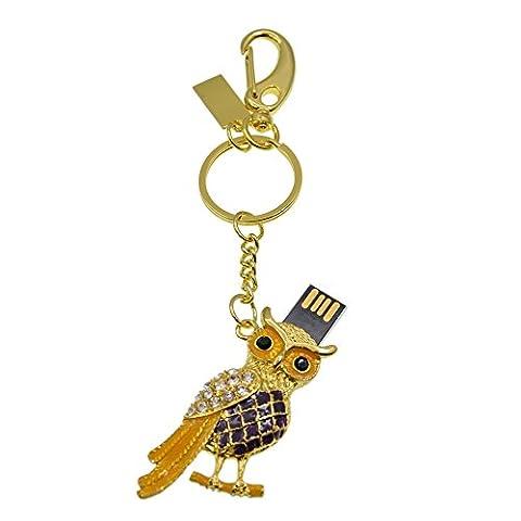 Datarm USB-Stick 32GB Neuheit Eule Figur Speicherstick Metall Schlüsselanhänger USB 2.0