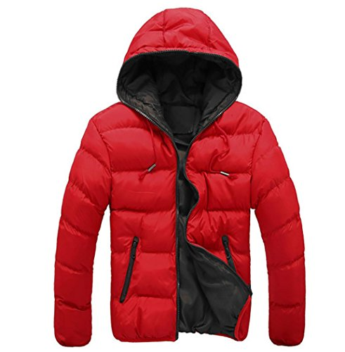 Sannysis Männer Slim Casual Warme Jacke Mit Kapuze Winter Dick Mantel Parka Mantel Hoodie (M, Rot) (Polyester-freizeit-anzug-jacke)
