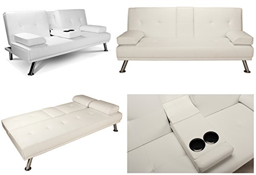White Faux Leather Sofa Bed Double Click Clack Settee 2