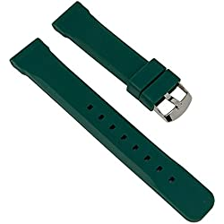 Watch Band Replacement Strap Men Silicone Band Dark Green Bonflair 27283S; Bridge Width: 22 mm