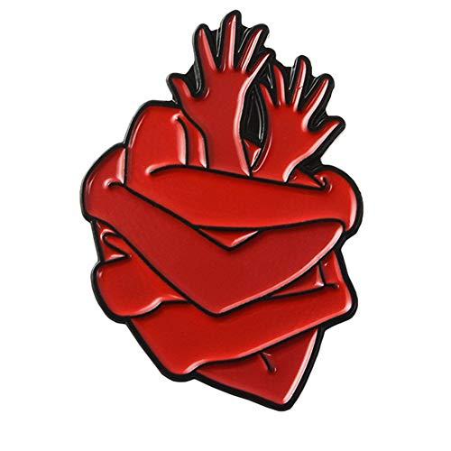 Brosche, Künstlerisch Rot Herz Zubehör Retro Geschenke Braut Auf Bankette Prom Hochzeiten Dekor Elegante Vintage Schmuck Für Männer Mädchen Kleidung Schal