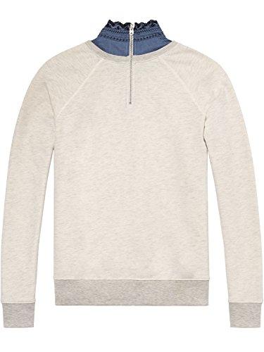 Scotch & Soda Maison Damen Sweatshirt Super Soft Sweat with Woven Collar Grau (Grey Melange 0G)