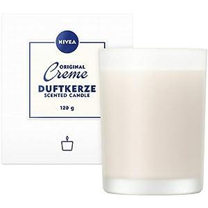 NIVEA Original Creme Duftkerze, schöne Duftkerze im Glas mit der bekannten NIVEA Creme-Note, zart duftende Kerze im Milchglas-Behälter