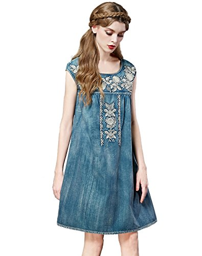 Artka Damen Kleid Blau - Denim
