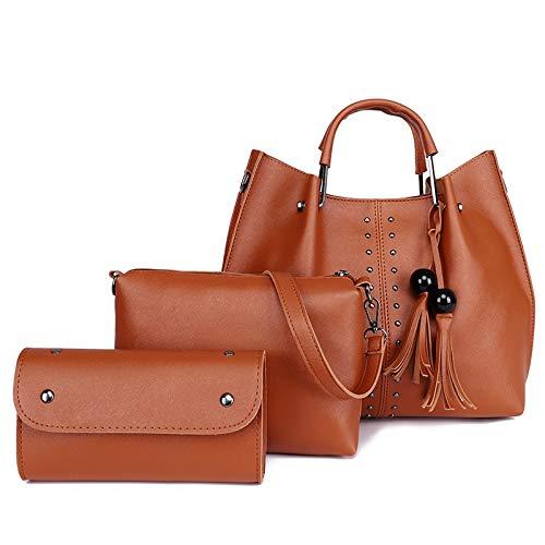 YKDY 3 in 1 Kreuze Textur PU Umhängetasche Damen Handtasche Messenger Bag mit Perlen Quaste (schwarz) (Farbe : Brown) -