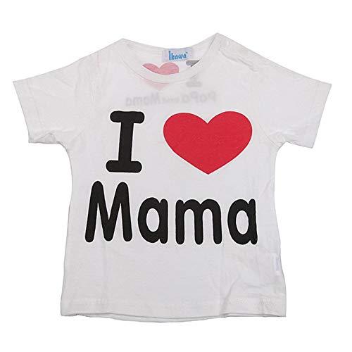 Camiseta bebé niña me Encanta mamá Talla 12 Meses Color Blanco 100