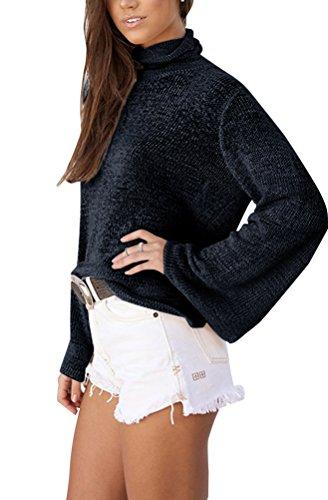 Ghope Tops Cross Women Shirts Long Sleeve Tops Shirt Schwarz