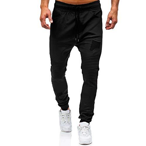 Elargire i pantaloni della tuta classici con lacci da uomo di sport della tuta con zip tasche(negro,M)