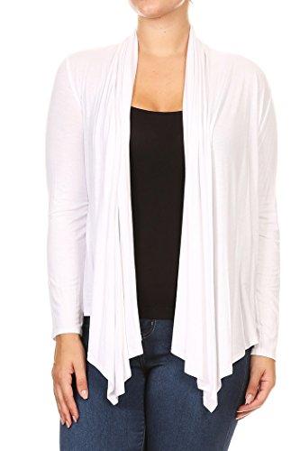 Frauen Plus Solid Langarm Drapierte Hals Open Front Cardigan.Made In US (2X, Wei?) (Hals Drapierte)