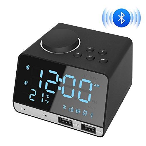 Digataler Radiowecker, Kitbeez Digital Wecker Funkuhr Bluetooth Lautsprecher mit FM Radio, Dual Alarm, USB-Ladeanschluss, Schlummerfunktion, Thermometer, AUX, TF-Karte Spielen, Mikrofon, Hands-Free Call für Schlafzimmer, Büro, Tisch und Stuhl