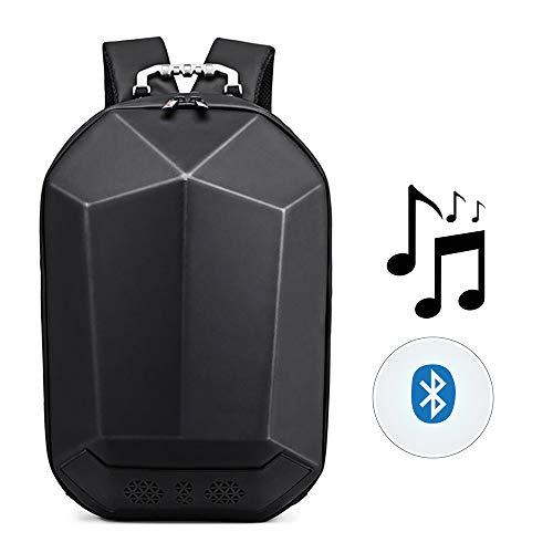 Outdoor-Musik-Rucksack, USB-Lade Bluetooth-Lautsprecher wasserdichte Tasche mit Musik-Player Dual Bass Surround Sound Geeignet für Reisen/Outdoor/Radfahren,Black