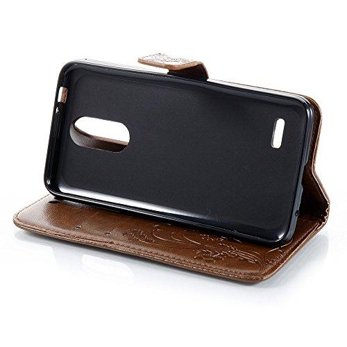 EKINHUI Case Cover Horizontale Folio Flip Stand Muster PU Leder Geldbörse Tasche Tasche mit geprägten Blumen & Lanyard & Card Slots für LG K4 2017 European Edition ( Color : Rose ) Coffee