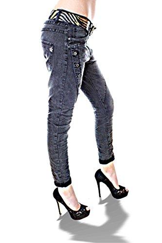 Desingner Italy Damen Jeans Boyfriend Stylefashion Stretch Offset Buttons BUTTON II DARK GREY
