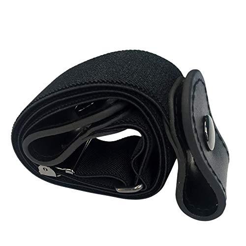 FeiliandaJJ 80-100CM Buckle-free Women Men Unsichtbarer elastischer Gürtel für Jeans Keine Beule (Schwarz)