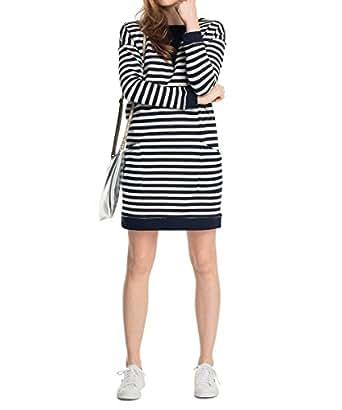 ESPRIT Damen Kleid im Sweatshirt-Stil, Knielang, Gestreift ...