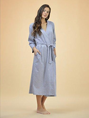 SIORO Femme Sexy Robe de chambre peignoir longue kimono robes 3/4 Manche Nuit Courte Gris