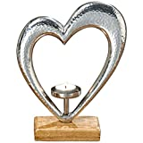 Boltze Teelichthalter Herz Kerzen-Halter Holz Metall Silber 26cm