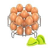 Egg cuiseur vapeur Rack, EN ACIER INOXYDABLE Egg Cooker Rack, Multipurpose Légumes Steamer Rack support pour pot instantanée et Autocuiseur, prêt à la santé, cuits à la vapeur gratuit Gants de protection en gel de silicone. (lot de 3)
