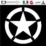ERREINGE Sticker STELLA MILITARE BIANCO ARMY Adesivo prespaziato in PVC per Decalcomania Parete Murale Auto Moto Casco Camper Laptop - cm 10