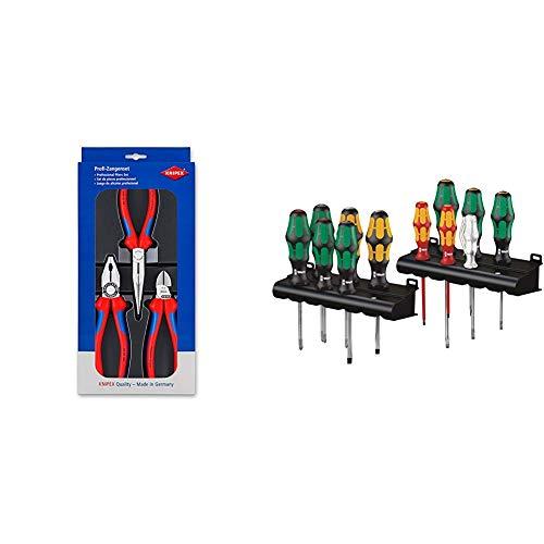 Knipex 00 20 11 – Montage-Paket mit drei Zangen & Wera Kraftform XXL, Schraubendreher Set 12-teilig, 05051010001