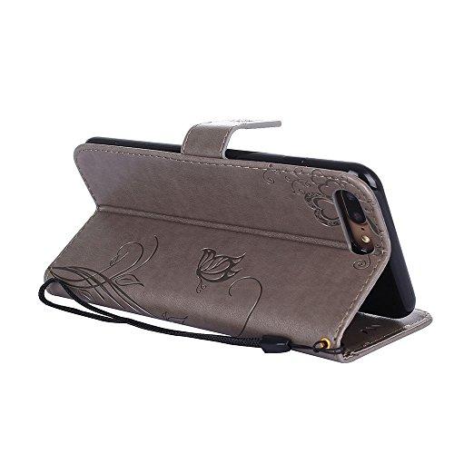 ZeWoo Folio Ledertasche - R160 / Ameisen aus (Rose Gold) - für Apple iPhone 7 Plus (5,5 Zoll) PU Leder Tasche Brieftasche Case Cover R158 Plum Blume