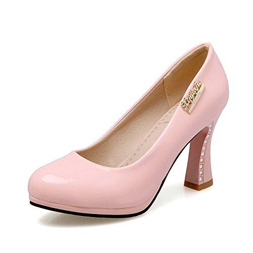 AllhqFashion Femme Tire Pu Cuir Rond à Talon Haut Couleur Unie Chaussures Légeres Rose