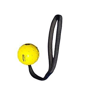 WEPO Hundespielzeug | Leichter Schleuderball Gelb aus Naturkautschuk mit Seil...