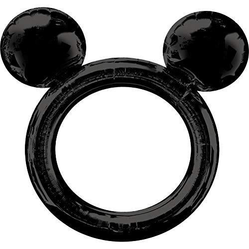 Amscan 3818401 Mickey Folienballon Selfierahmen Micky Maus, Schwarz (Magic Mickey Mouse Kostüm)