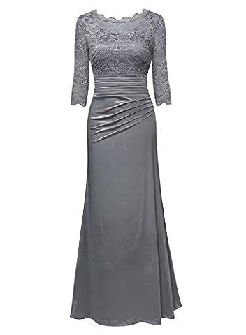 MIUSOL Femme Manches 3/4 Longue Robe de Soirée et de Cocktail Dentelle Pour Mari - Gris - XXX-Large (EU46)