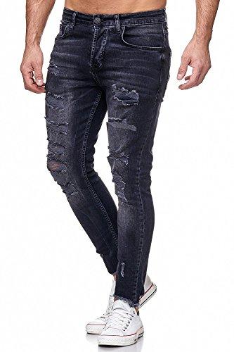 TAZZIO Herren Skinny Jeans Schwarz 17518 Schwarz