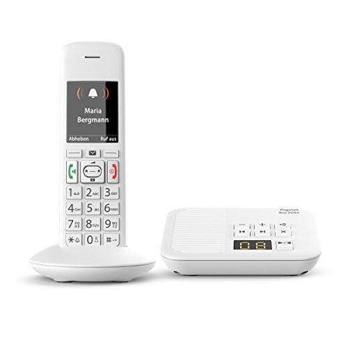 Gigaset E370A Schnurlostelefon mit Anrufbeantworter (mit großen beleuchteten Tasten und SOS-Funktion, einfache Bedienung, extra großes Farbdisplay) weiß